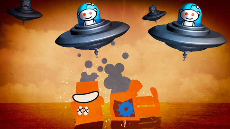 Cartoon flying saucers have decapitated an orange robot.