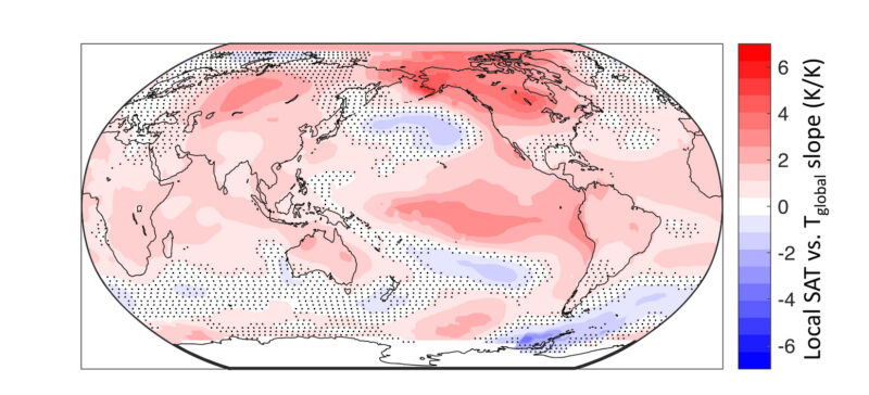One interesting way to look at the world: the darker the red, the closer the correlation between local temperature and global mean. Blue areas tend to prefer contrarian temperatures.
