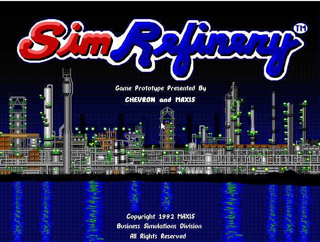 Wow. It may only be an incomplete prototype, but in a breathtaking span of time, <em>SimRefinery</em> has gone from a seemingly lost legend to a playable, downloadable video game. (That's its real, full-resolution opening screen, as captured using a DOSBox emulator.) And it's all thanks to an Ars Technica commenter.