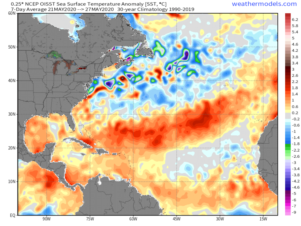 Atlantic sea surface temperature anomaly.