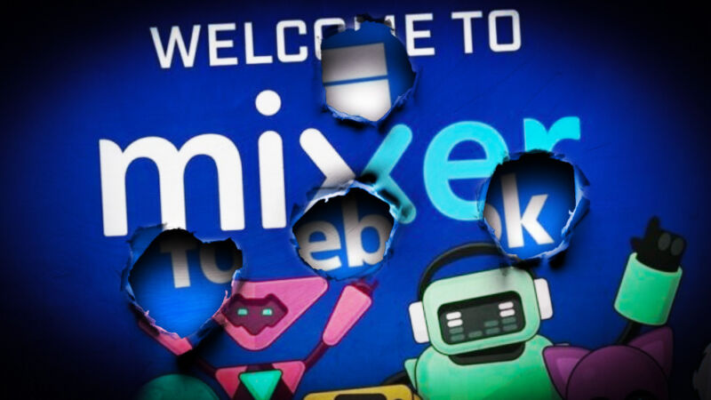 Cartoon robots dance in front of a sign saying Welcome to Mixer.