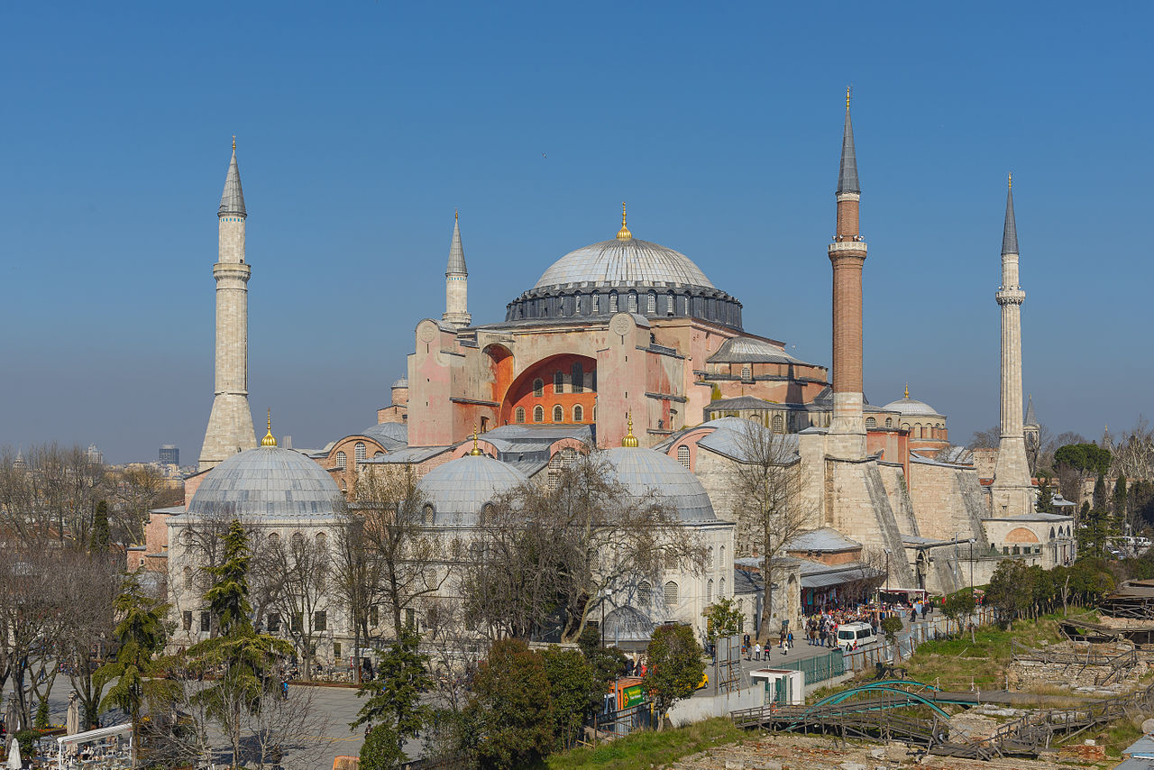 The four minarets were built over several decades in the late 1400s, not all at the same time.