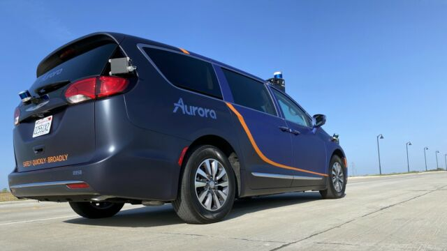 This Chrysler Pacifica is part of Aurora's Dallas test fleet.