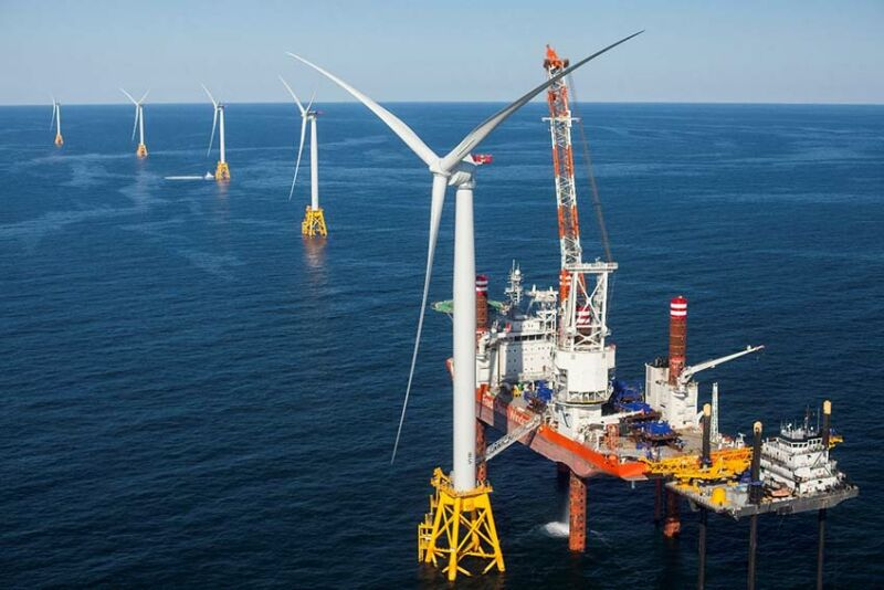 Image of an offshore wind installation.