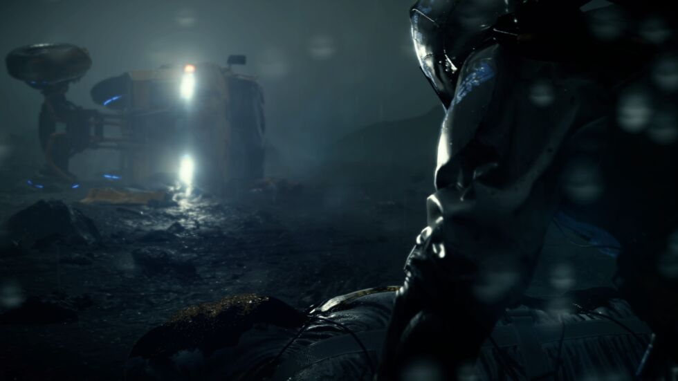 This <em>Death Stranding</em>screenshot was captured on a PlayStation 4 Pro, not on PC. Notice that sparkling bodybag at the bottom? Nvidia's DLSS method is confused by this particle effect and renders a mostly black patch in that spot, while AMD's CAS method renders it almost perfectly.
