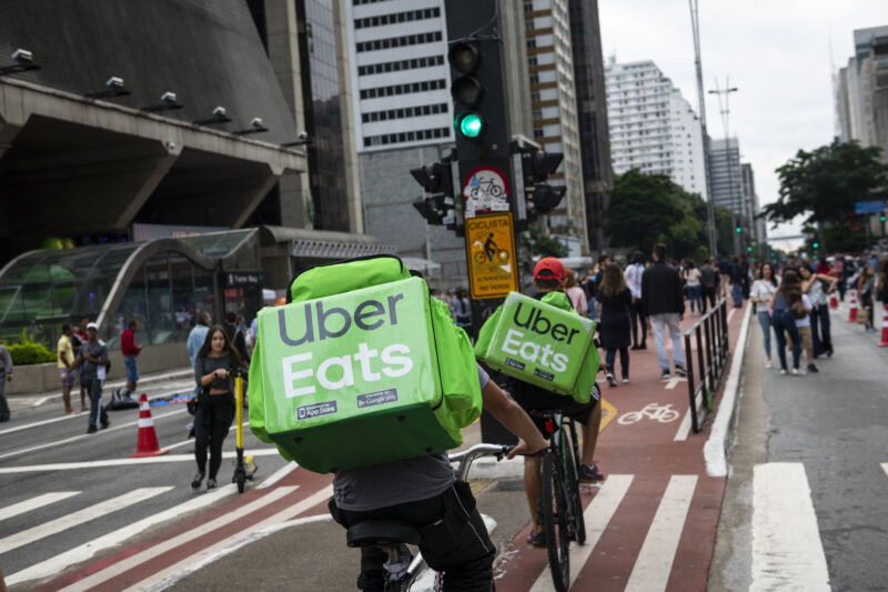 Bicycle couriers making deliveries to Uber Eats customers in São Paulo in April, 2019 (a year before the novel coronavirus pandemic).