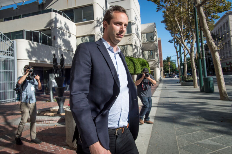 Anthony Levandowski exits federal court in San Jose, California, on August 27, 2019.