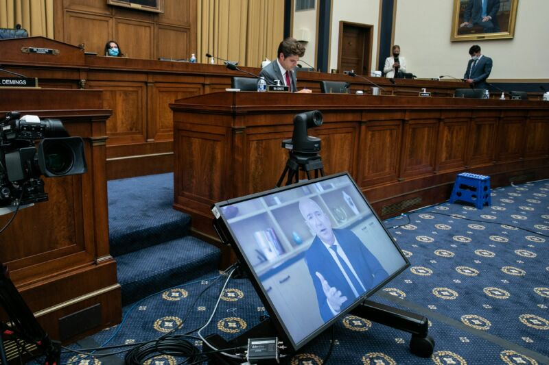 "Amazon CEO Jeff Bezos testifies (remotely) before the House Judiciary Subcommittee on Antitrust, Commercial and Administrative Law hearing on ""Online Platforms and Market Power"" in the Rayburn House office Building on Capitol Hill in Washington, DC on July 29, 2020."