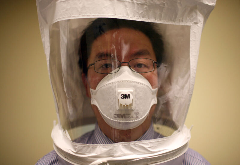 A doctor wears a hood as he tests the seal of an N95 respiratory mask during a training at the La Clinica San Antonio Neighborhood https://bt-hypnotise.com/ Center in California.