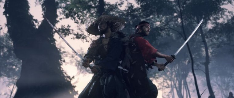 ghost of tsushima: the game's hero teams up with a childhood friend to battle, swords raised and ready to attack