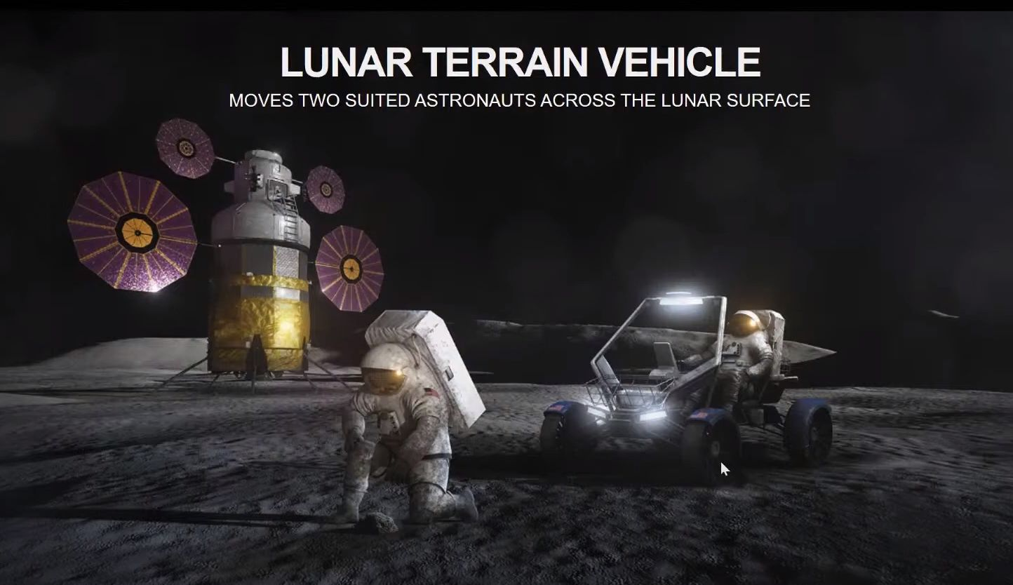 A rendering of the Lunar Terrain Vehicle NASA may use during the second Artemis mission to the Moon.