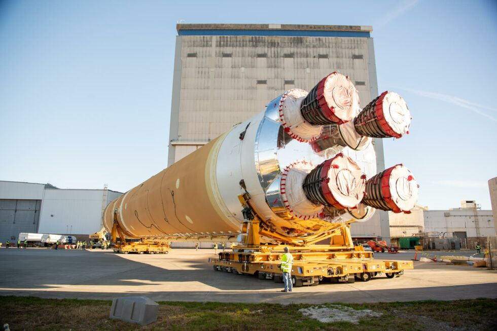 Boeing moved the core stage of its Space Launch System rocket from Michoud Assembly Facility in January, 2020.