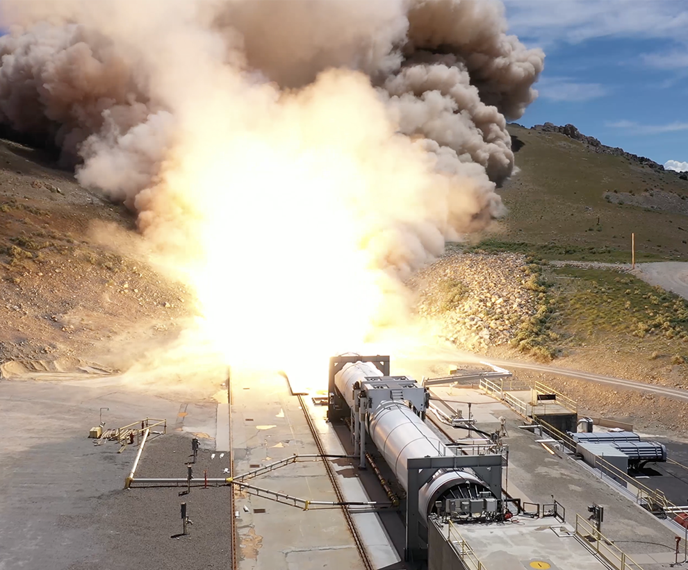 First stage of Omega rocket undergoes a first stage static fire test in 2019.
