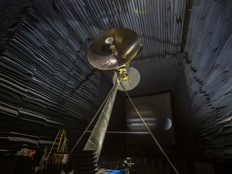A full-scale prototype of the high-gain antenna on NASA's Europa Clipper spacecraft.