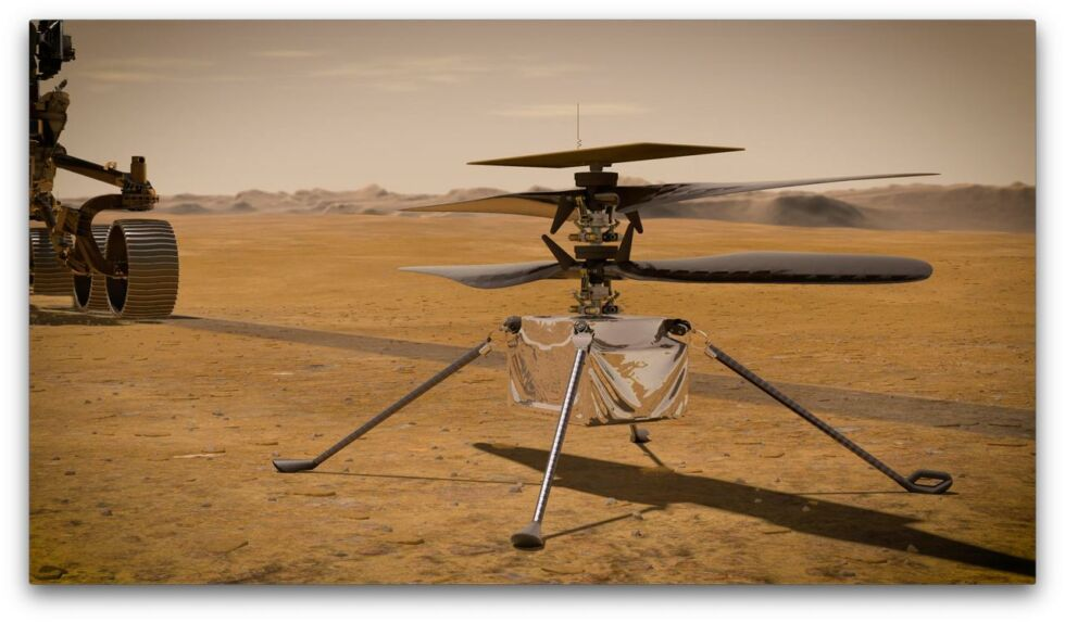 Artist's impression of the Ingenuity helicopter on Mars.