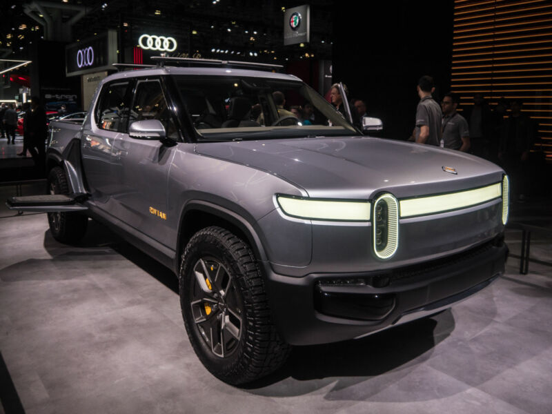 Rivian's R1T at the New York Auto Show in 2019.