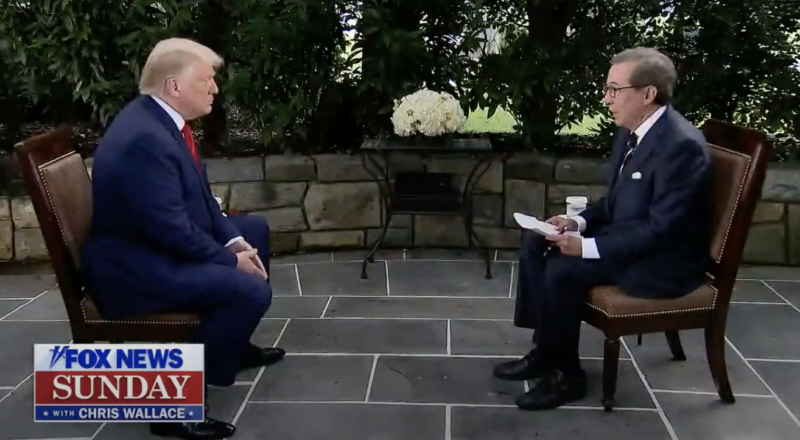 Image of President Trump being interviewed.