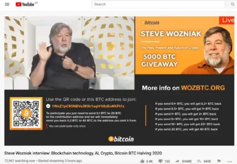 "A screenshot from Wozniak's lawsuit shows a typical ""Bitcoin giveaway"" scam video on YouTube."