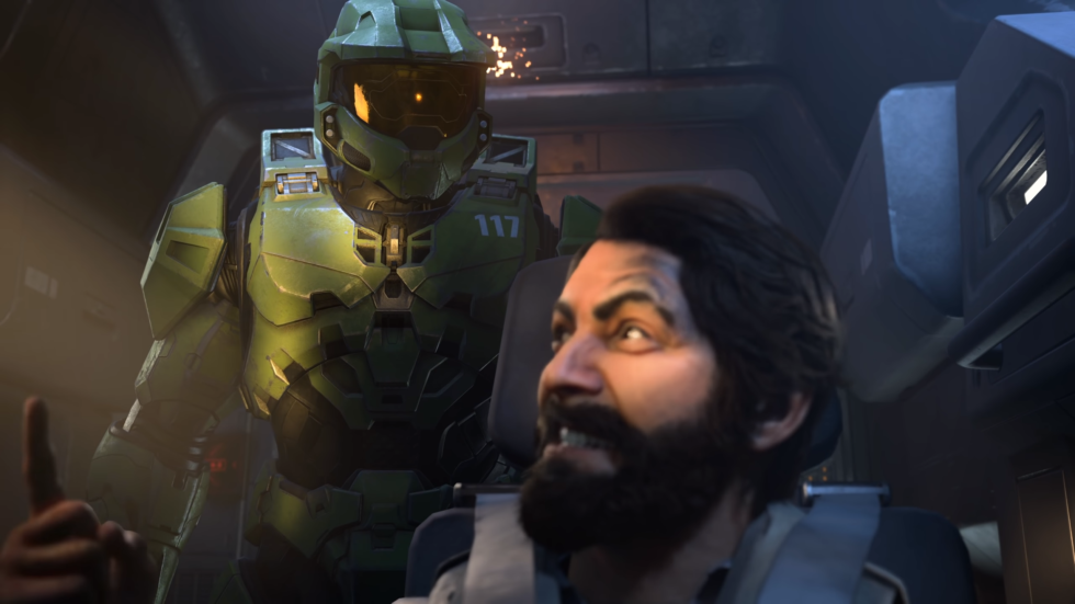 """Does this fight between Master Chief and new character """"the pilot"""" bear any resemblance to quarrels between Microsoft and <em>Halo Infinite</em>'s development team?"""