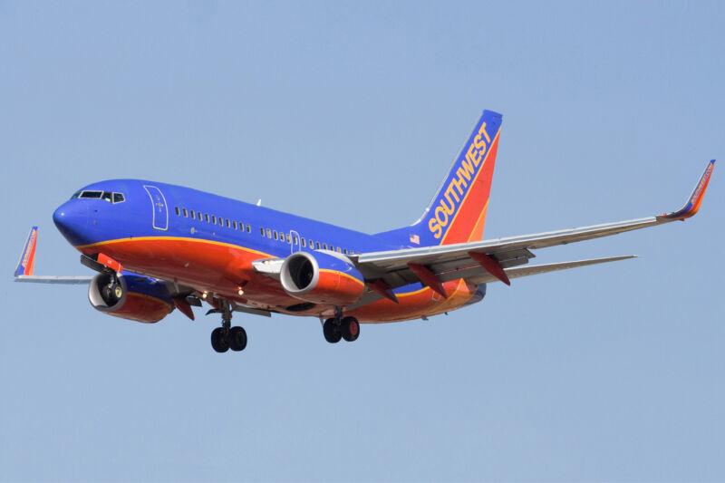 Colorful passenger jet.