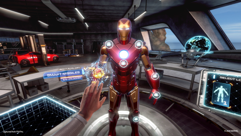 This image of <em>Iron Man VR</em>'s suit-customization interface was provided by SIE, but the actual PSVR experience doesn't look as crisp. Scroll through the below gallery for more on that.