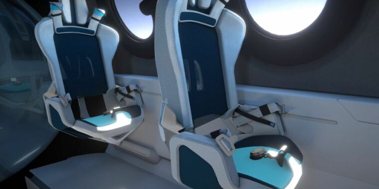 Virgin Galactic's spacecraft has six passenger seats and lots of windows thumbnail