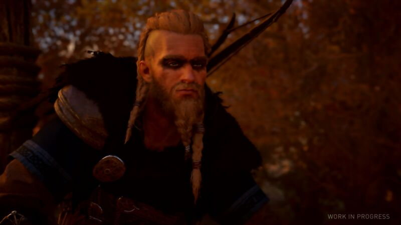 <em>Assassin's Creed Valhalla</em> stars Eivor, a Viking in the Early Middle Ages. Note: all images in this article were captured directly from live demo gameplay, not altered or sweetened by the publisher.