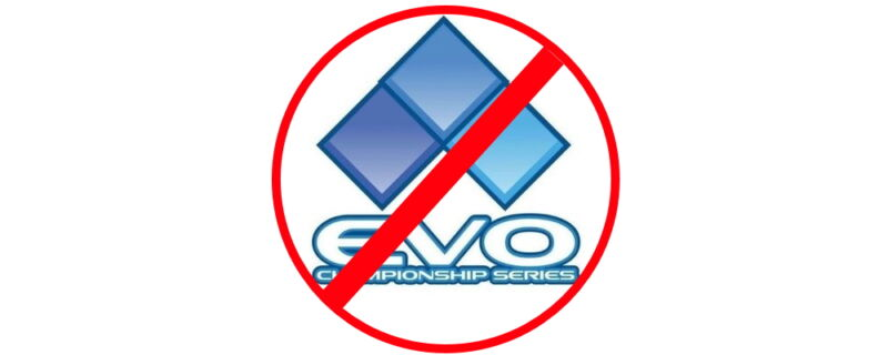 EVO logo with a red line through it.