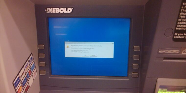 """Crooks are using a new way to """"jackpot"""" ATMs made by Diebold"""
