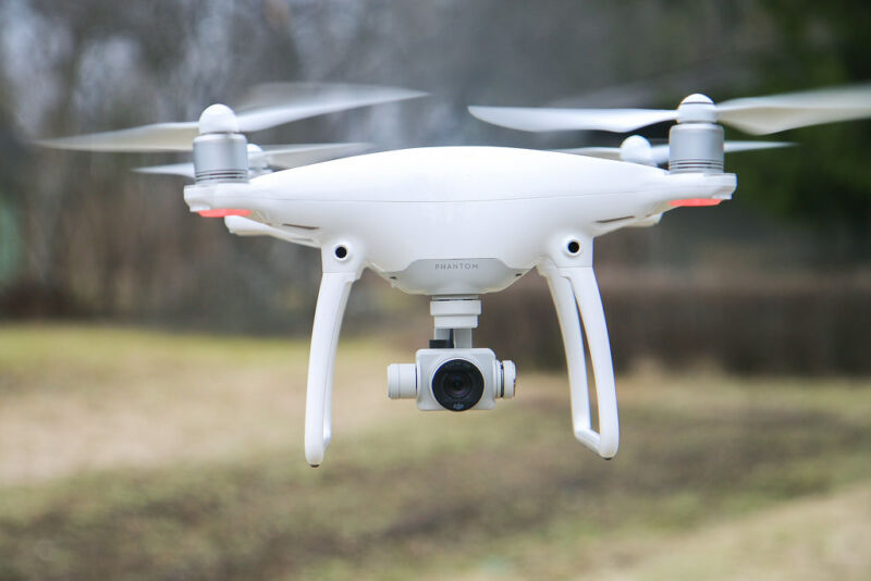 A DJI Phantom 4 quadcopter drone.