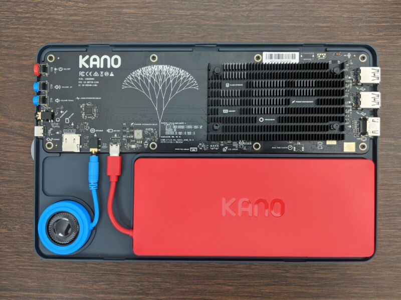 This almost fully-assembled shot of the Kano PC lacks only the back cover and the magnetically-connected folio case with keyboard and touchpad.