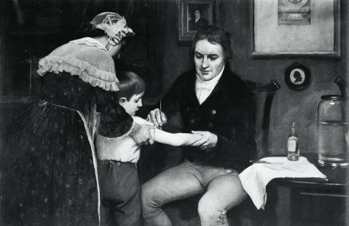 This undated painting by E. Board shows British physician Edward Jenner administering his first vaccination on eight-year-old James Phipps, on May 14, 1796.