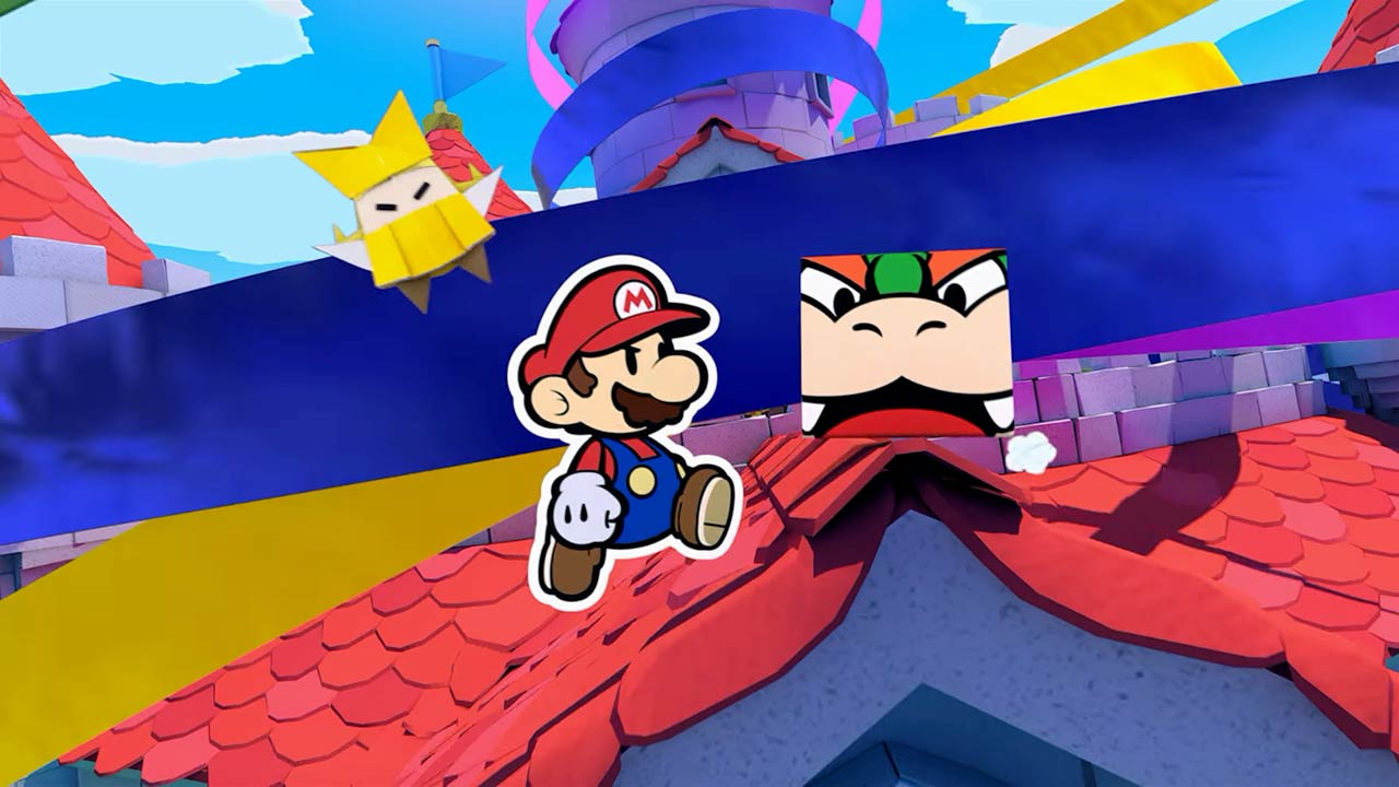 Bowser is folded into a harmless sandwich board early in the proceedings of <em>Paper Mario: The Origami King</em>.