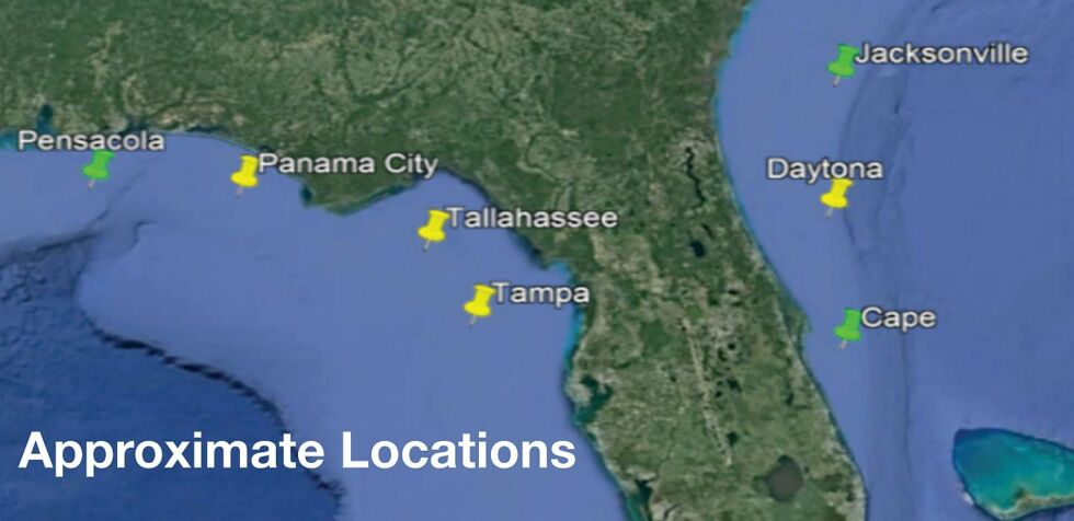 Approximate location of splashdown sites.