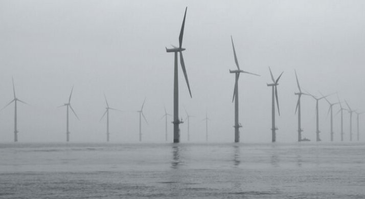 Offshore wind farm against a gray sky.