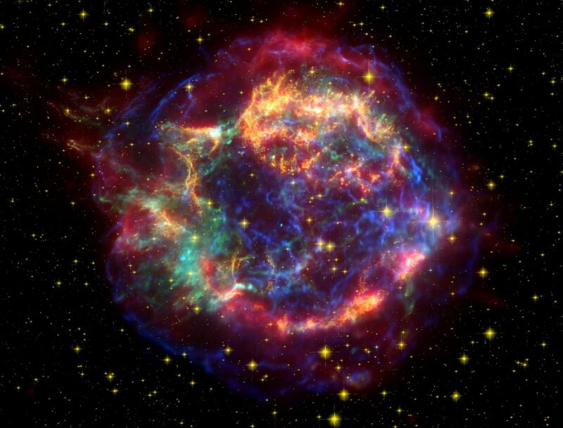 The Cassiopeia A supernova which left this remnant behind occurred about 11,000 light years away—much too far to pose a significant threat—and its wavefront likely reached Earth about 300 years ago.
