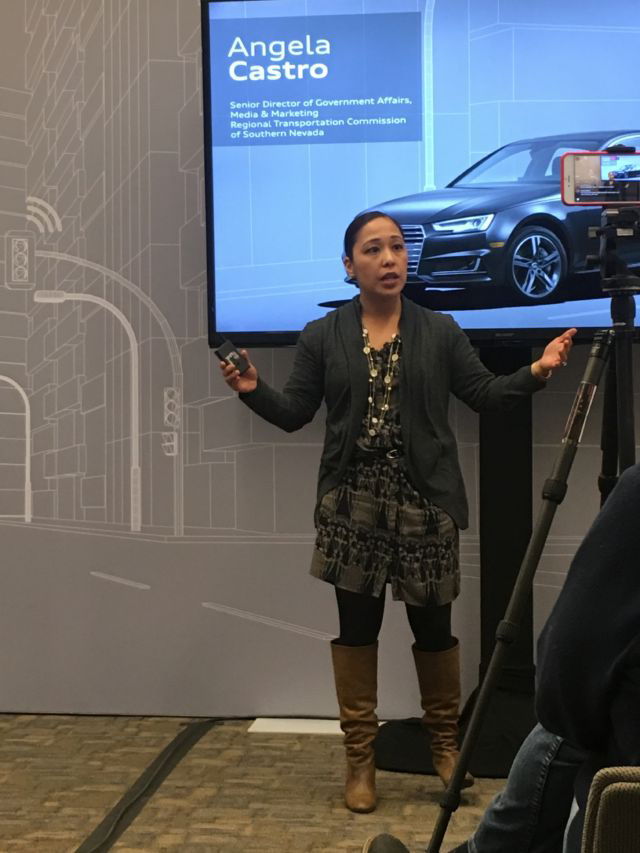 Angela Castro, the senior director of government affairs media and marketing in southern Nevada, is very excited about vehicle-to-infrastructure communications.