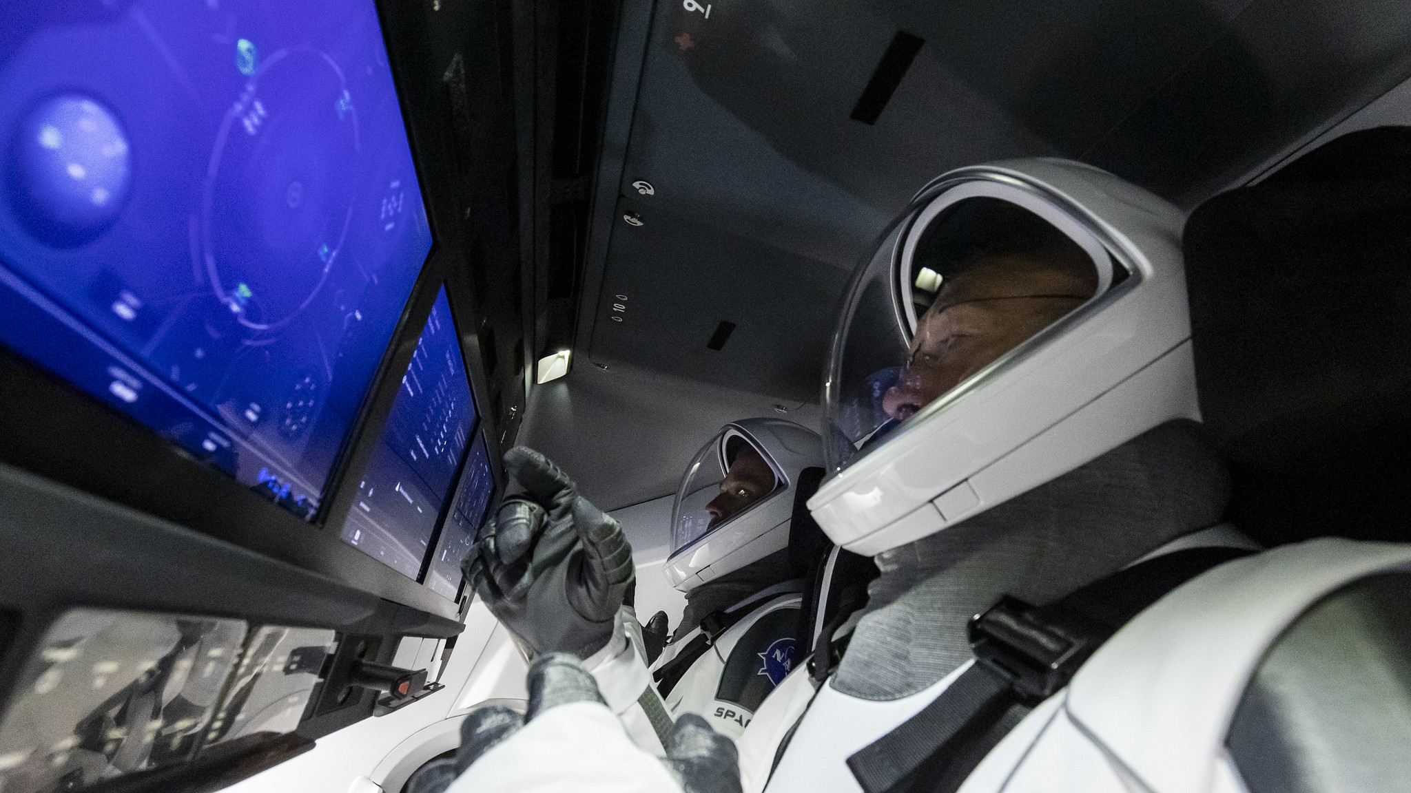 An interior shot of Crew Dragon during the Demo-2 mission.