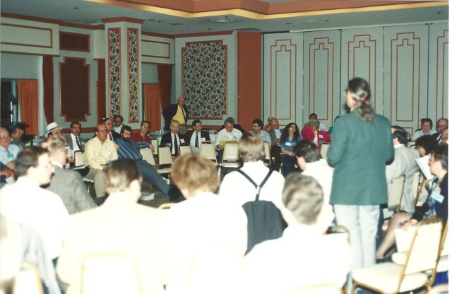 User group officers conferred regularly (here in 1990) to develop leadership skills.