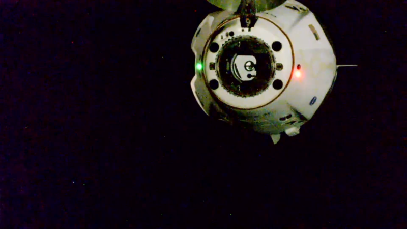 Crew Dragon backs away from the International Space Station on Saturday.