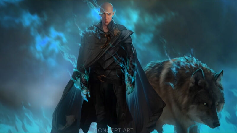 Solas, accompanied by a very large wolf, looking angry and glowing blue.