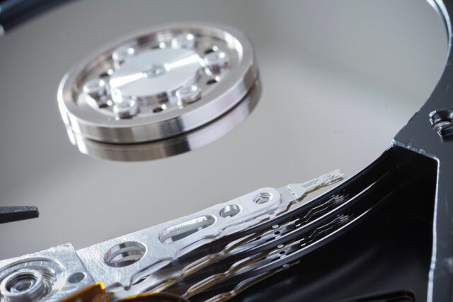 The interior of a computer's hard drive.