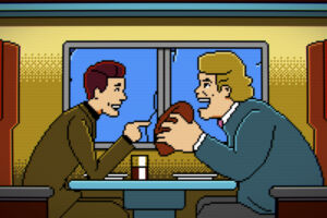Trip Hawkins and John Madden appear as pixelated characters in one of many montage sequences.