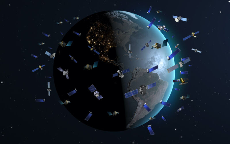 Illustration of many satellites orbiting the Earth.