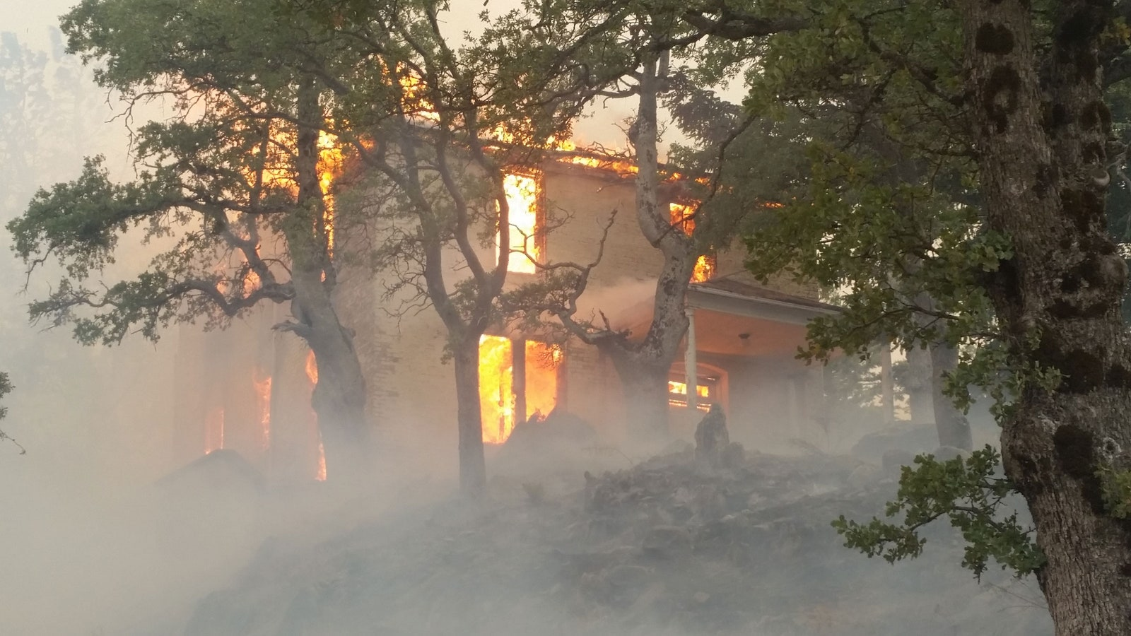 An unused residence on the Lick Observatory grounds burned up.
