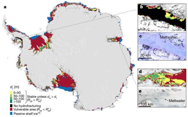 赤字で示されている、水圧破砕に対して脆弱な強化型氷棚の領域。 緑と黒の領域の骨折は安定しているはずです。 青い領域は、支持を提供しません。 ボックスは、現在、表面の融水が存在する2つの領域を拡大表示しています。