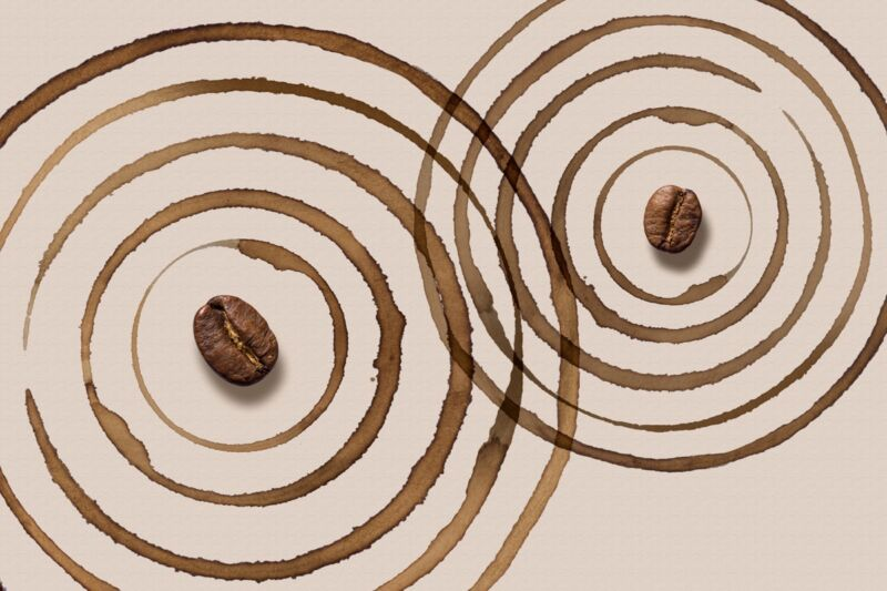 The coffee ring effect happens because evaporation occurs faster at the edge than at the center.