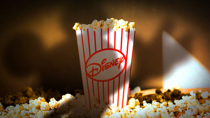 Disney logo adorns a container of movie theater popcorn.