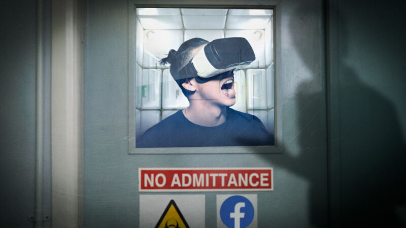 Doctored image of a young man in a VR headset being examined in a padded cell.