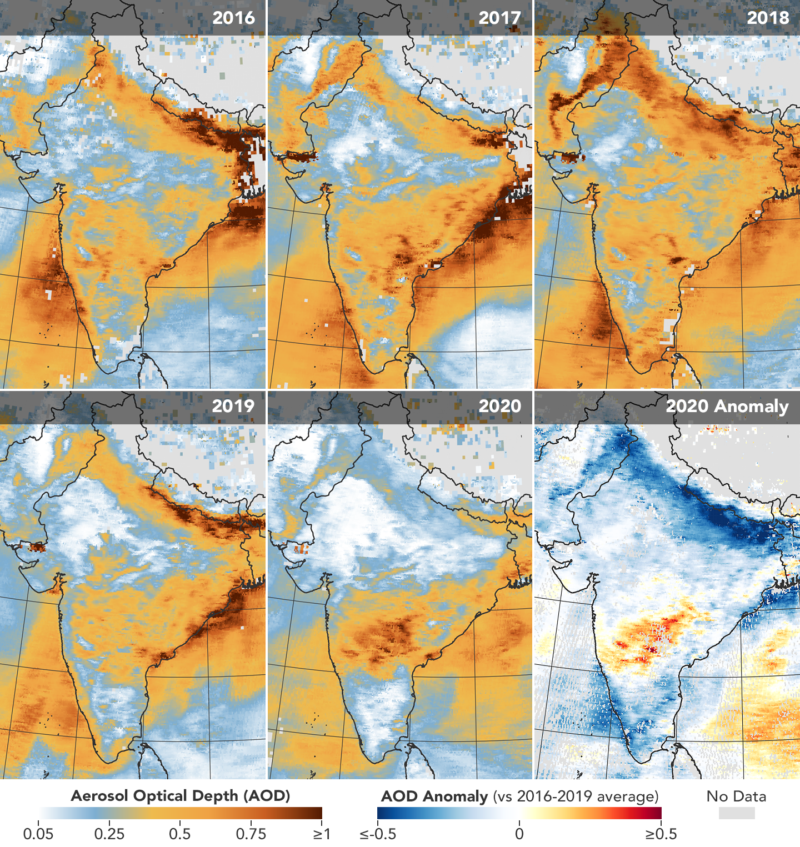 India saw a notable decline in aerosol pollution in April.